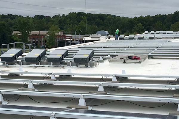 EcoMount inverter mounts on large commercial rooftop