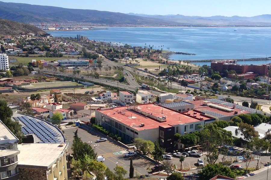 birdseye view of large ecolibrium solar commercial project